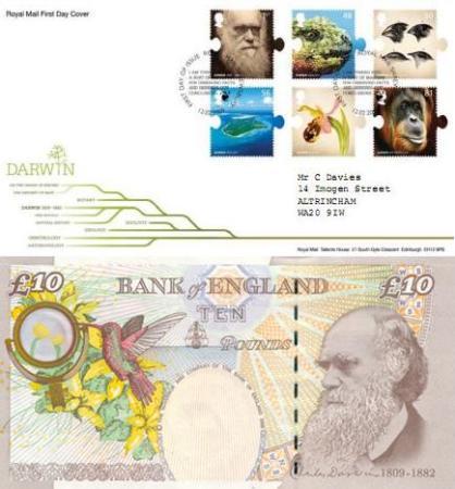 چارلز داروین بر روی تمبر و اسکناس